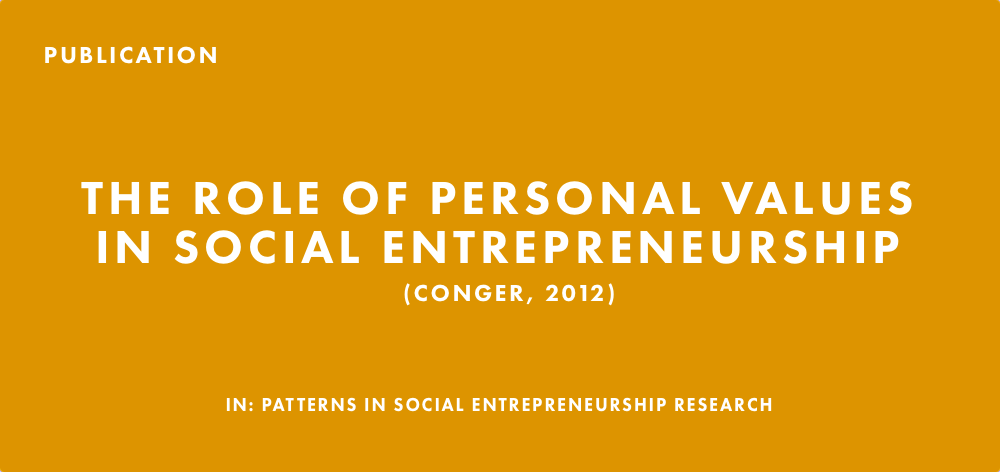 Publication: The Role of Personal Values In Social Entrepreneurship (Conger, 2012)