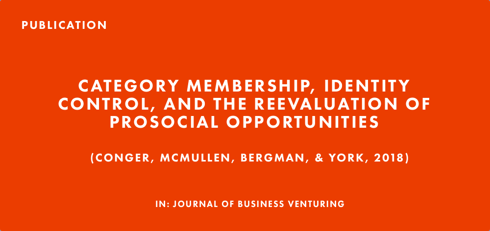 Publication: Category Membership, Identity Control, and the Reevaluation of Prosocial Opportunities