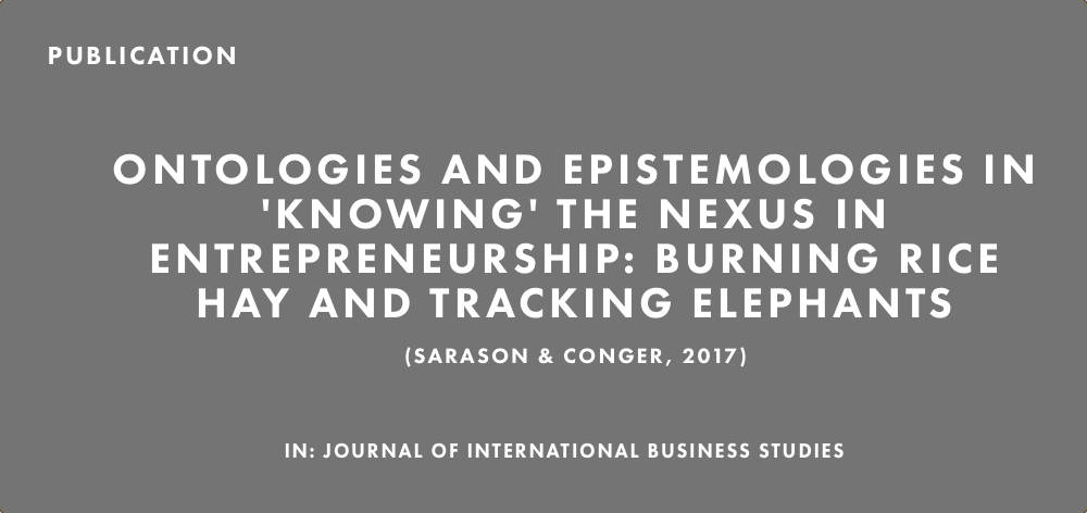 Publication: Ontologies and Epistemologies in 'Knowing' the Nexus in Entrepreneurship: Burning Rice Hay and Tracking Elephants